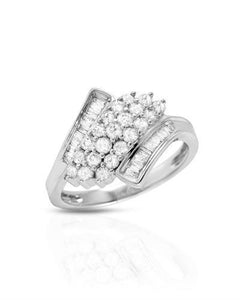 Brand New Ring with 1ctw of Precious Stones - diamond and diamond 10K White gold