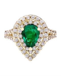 3.00 Carat Natural Emerald 14K Solid Yellow Gold Diamond Ring