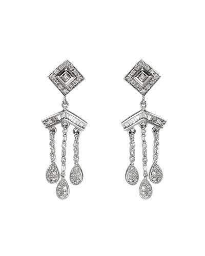 Brand New Earring with 1.02ctw of Precious Stones - diamond and diamond 14K White gold