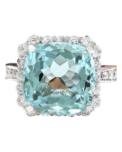 9.80 Carat Natural Aquamarine 14K Solid White Gold Diamond Ring