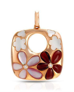 Brand New Pendant with 1ctw of Precious Stones - diamond, garnet, and mother of pearl 18K Rose gold