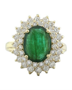 4.45 Carat Emerald 14K Yellow Gold Diamond Ring