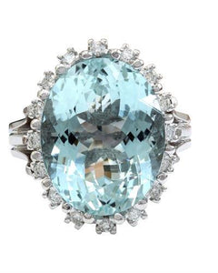 12.78 Carat Natural Aquamarine 14K Solid White Gold Diamond Ring