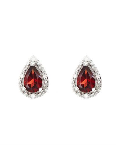 Brand New Earring with 0.92ctw of Precious Stones - diamond and garnet 925 Silver sterling silver
