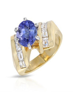 Lundstrom Brand New Ring with 2.68ctw of Precious Stones - diamond and tanzanite 14K Yellow gold