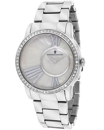 Christian Van Sant CV3610 Exquisite Brand New Quartz Watch with 0ctw of Precious Stones - crystal and mother of pearl