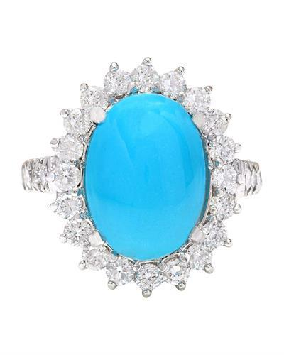 7.00 Carat Natural Turquoise 14K Solid White Gold Diamond Ring