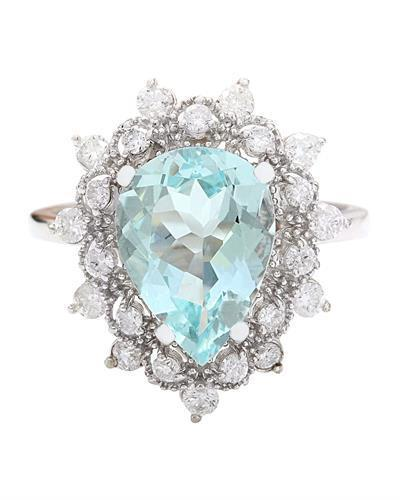 3.75 Carat Natural Aquamarine 14K Solid White Gold Diamond Ring