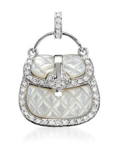 Brand New Pendant with 0.45ctw of Precious Stones - diamond and mother of pearl 18K White gold