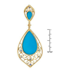 Brand New Pendant with 24.61ctw of Precious Stones - diamond, sapphire, and turquoise 14K Yellow gold