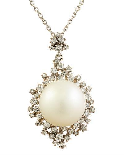 1.10 Carat 14.85mm Pearl 14K White Gold Diamond Necklace