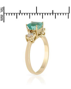 Brand New Ring with 2.4ctw of Precious Stones - diamond and emerald 14K Yellow gold