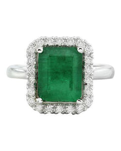 3.55 Carat Emerald 14K White Gold Diamond Ring