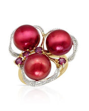 Load image into Gallery viewer, PEARL LUSTRE Brand New Ring with 0.53ctw of Precious Stones - diamond, pearl, and Rhodolite Garnet 14K Yellow gold
