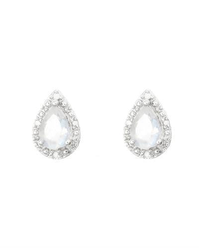 Brand New Earring with 0.86ctw of Precious Stones - diamond and moonstone 925 Silver sterling silver