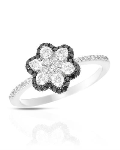 Brand New Ring with 0.62ctw of Precious Stones - diamond and diamond 14K White gold