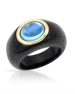 Brand New Ring with 3.66ctw of Precious Stones - onyx and topaz 14K Yellow gold