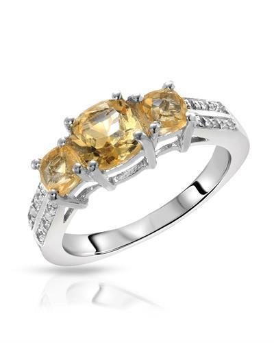 Brand New Ring with 1.56ctw of Precious Stones - citrine and topaz 925 Silver sterling silver
