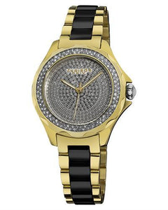 Akribos XXIV AK534YG Brand New Swiss Quartz Watch with 0.2ctw of Precious Stones - crystal and diamond