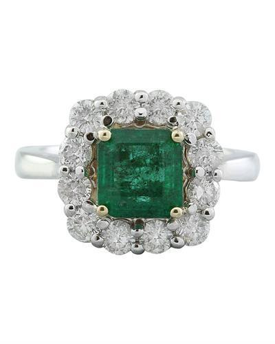 3.15 Carat Emerald 14K White Gold Diamond Ring