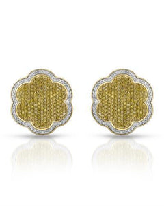 Brand New Earring with 1.04ctw of Precious Stones - diamond and diamond 10K Yellow gold