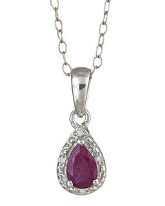 Brand New Necklace with 0.46ctw of Precious Stones - diamond and ruby 925 Silver sterling silver