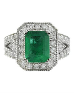 3.92 Carat Emerald 14K White Gold Diamond Ring