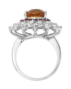 Lundstrom Brand New Ring with 6.44ctw of Precious Stones - citrine, diamond, and sapphire 14K White gold