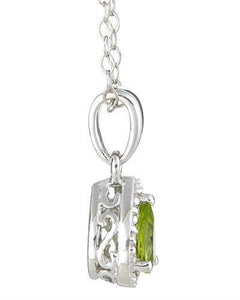 Brand New Necklace with 0.46ctw of Precious Stones - diamond and peridot 925 Silver sterling silver