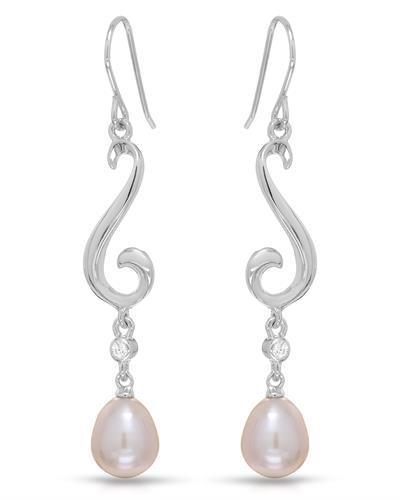 Millana Brand New Earring with 0ctw of Precious Stones - cubic zirconia and pearl 925 Silver sterling silver