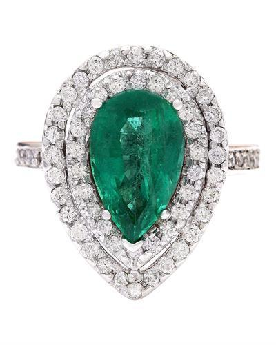 4.10 Carat Natural Emerald 14K Solid White Gold Diamond Ring