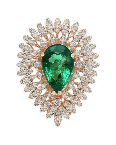 4.68 Carat Natural Emerald 14K Solid Rose Gold Diamond Ring