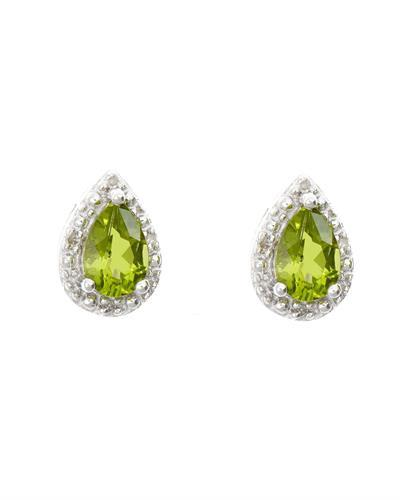 Brand New Earring with 0.92ctw of Precious Stones - diamond and peridot 925 Silver sterling silver