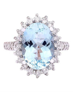 6.10 Carat Natural Aquamarine 14K Solid White Gold Diamond Ring