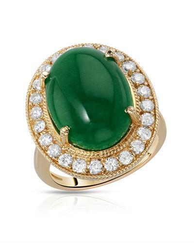 Lundstrom Brand New Ring with 9.81ctw of Precious Stones - diamond and jade 14K Yellow gold