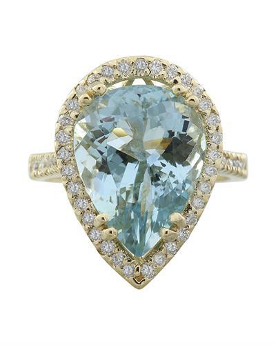 7.50 Carat Aquamarine 14K Yellow Gold Diamond Ring