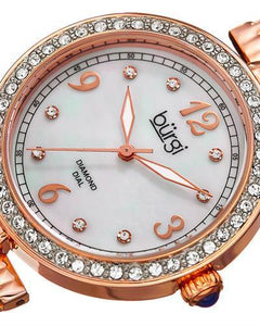 burgi BUR136RG Brand New Quartz date Watch with 0.04ctw of Precious Stones - crystal, diamond, and mother of pearl