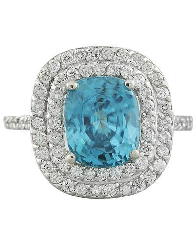 6.35 Carat Zircon 14K White Gold Diamond Ring