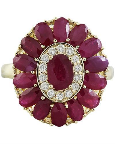 4.40 Carat Ruby 14K Yellow Gold Diamond Ring