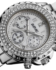 AUGUST Steiner AS8031SS Brand New Quartz date Watch with 0ctw of Precious Stones - crystal and mother of pearl