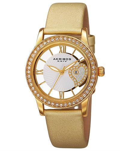 Akribos XXIV AK811YG Brand New Japan Quartz date Watch with 0ctw crystal