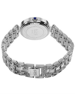 burgi BUR136SS Brand New Quartz date Watch with 0.04ctw of Precious Stones - crystal, diamond, and mother of pearl
