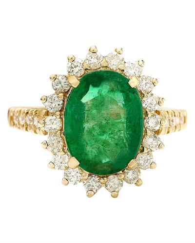 3.98 Carat Natural Emerald 14K Solid Yellow Gold Diamond Ring