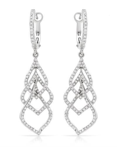 Brand New Earring with 0.88ctw diamond 14K White gold