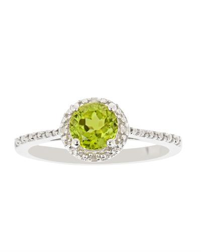 Brand New Ring with 0.86ctw of Precious Stones - diamond and peridot 925 Silver sterling silver