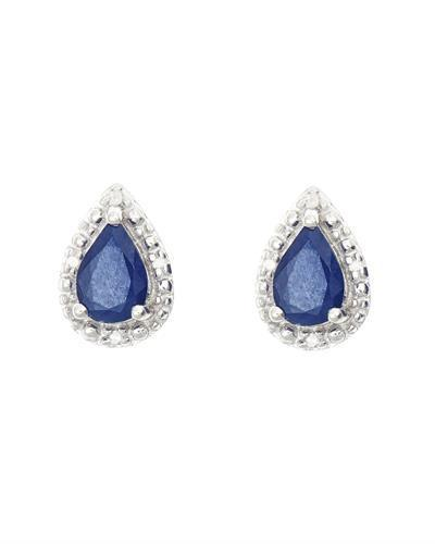 Brand New Earring with 0.92ctw of Precious Stones - diamond and sapphire 925 Silver sterling silver