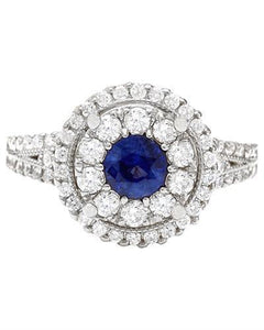 2.10 Carat Natural Sapphire 14K Solid White Gold Diamond Ring