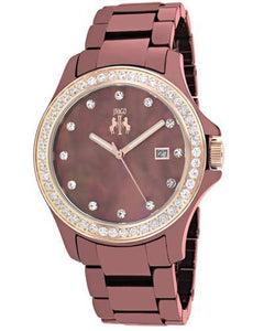 Jivago JV9414 Ceramic Brand New Swiss Quartz date Watch with 0ctw of Precious Stones - crystal and mother of pearl