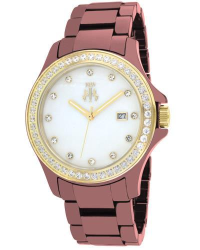 Jivago JV9415 Ceramic Brand New Quartz date Watch with 0ctw of Precious Stones - crystal and mother of pearl