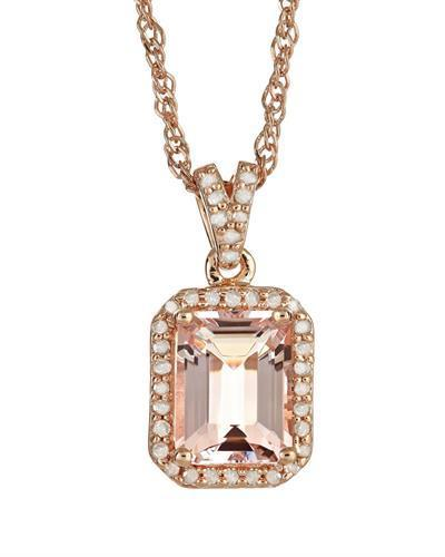 Brand New Necklace with 2.26ctw of Precious Stones - diamond and morganite 925 Rose sterling silver